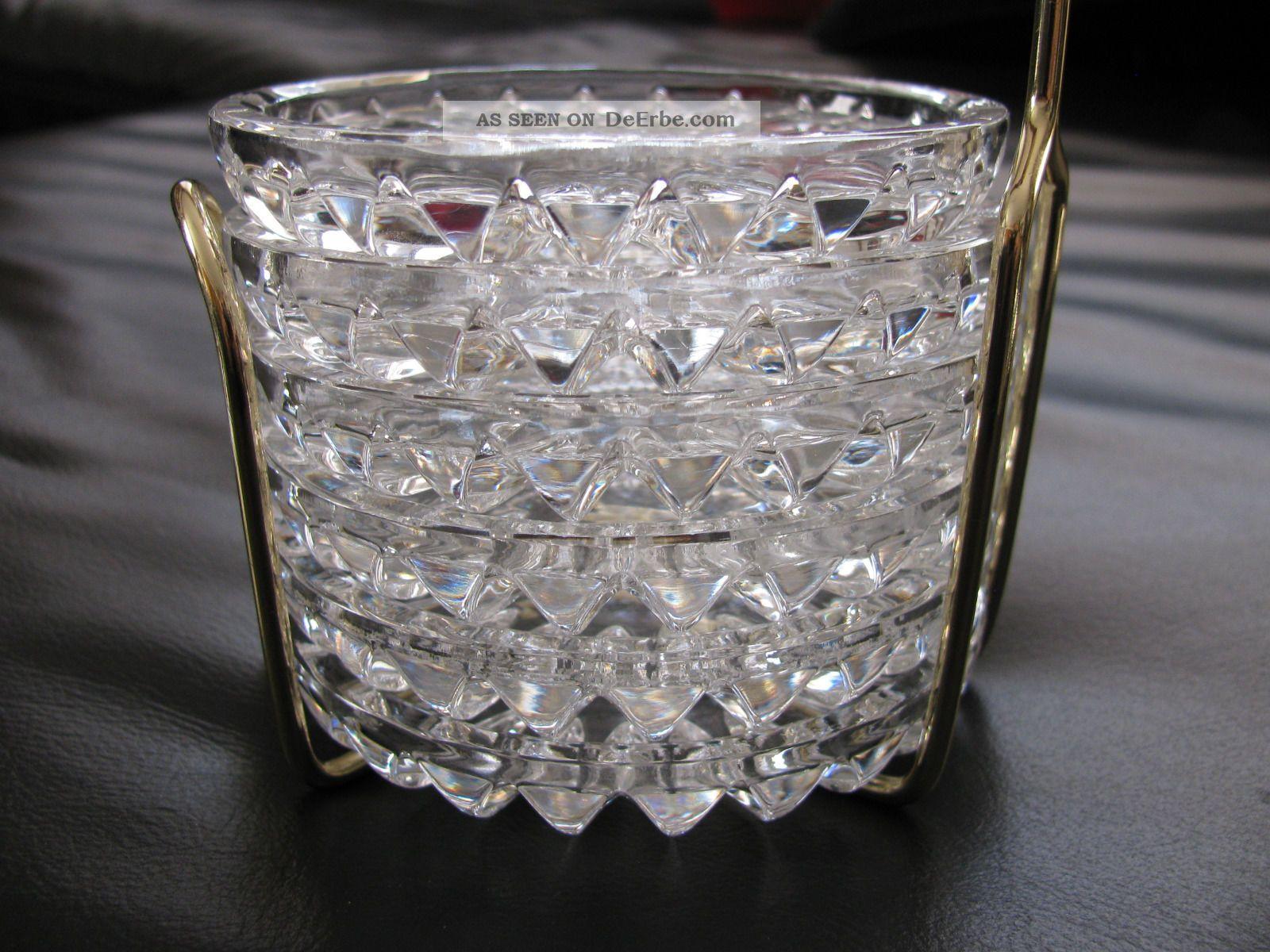 50 jahre 6 kristall glas untersetzer im st nder. Black Bedroom Furniture Sets. Home Design Ideas