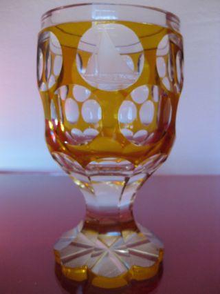 Prachtpokal; Geschliffenes Glas; BÖhmen; Überfangen; Segeln; Jacht; Alt; Kunst Bild