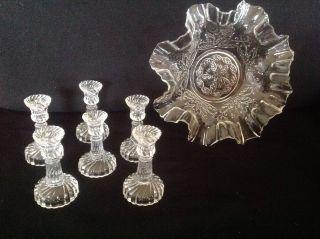 Originales Pressglas: Schale Mit Wellenrand,  6 Kleine Kerzenständer Um 1880 Bild