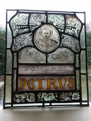 Chateau Petrus,  Old Handpainted Stained Glass Window,  39x50cm,  Collectorsitem Bild