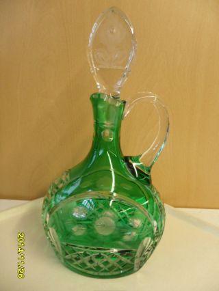 Wunderschöne Grüne Kristal - Glas - Karaffe,  Handgeschliffen,  Graviert,  Mundgeblasen Bild
