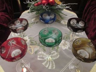 6 RÖmer,  Überfang,  Hand Geschliffene,  Farbige Sektschalen,  Dresden Crystal Bild