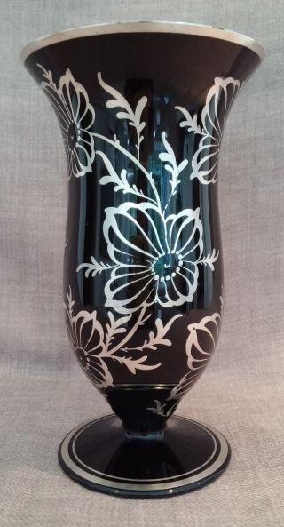 Rarität Art Deco Vase Silber Overlay Hyalithglas Schwarzglas Handgemalt Bild