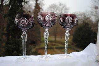 3 Weinrömer Bleikristallglas,  Weinglas,  Lila - Schleuderstern Bild