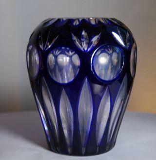 Vase Überfangglas Kobaltblau Bleikristall Geschliffen Tiefenschliff 1930er Jahre Bild