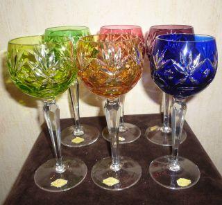Handgeschliffene Bleikristallglas Römer In 6 Farben Mit Etikett Bild