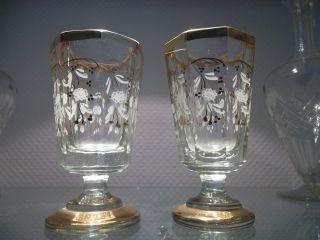 2 Exquisite Biedermeiergläser Um 1830,  Kristall Facettiert,  Feine Bemalung,  1 A Bild