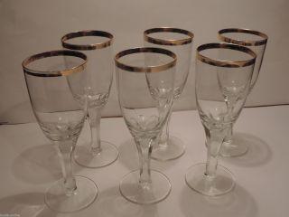 6 Biergläser Glas Mit Goldrand Bild