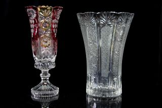 2 Prunkvolle Bleikristall Vasen U.  A.  Anna Hütte Kristallvasen Tischvasen Bild