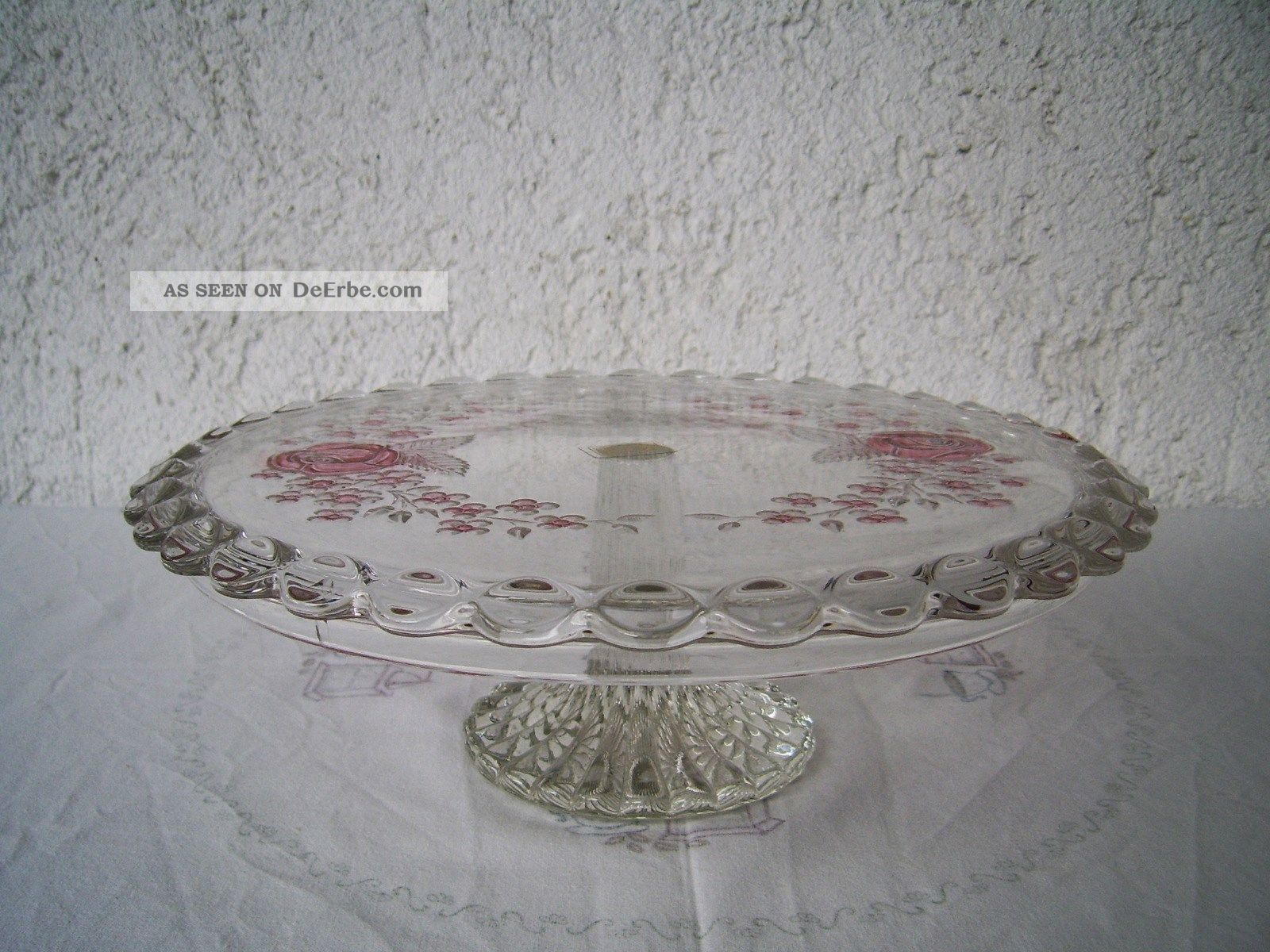 dekorative walther kristallglas tortenplatte hoher fu. Black Bedroom Furniture Sets. Home Design Ideas