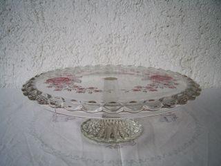 Dekorative Walther Kristallglas Tortenplatte Hoher Fuß Florales Dekor Bild