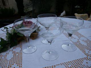 4 Schöne Sektkelche Kristall Mit Feinem Schliff Sehr Edel Bild