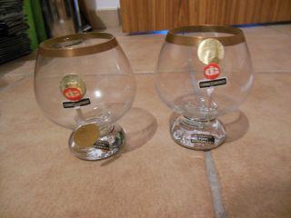 2 X Cognac Schwenker,  Mundgeblasen,  Altdeutsch,  Pokalform,  10,  3 Cm Top Bild