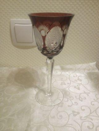 Römerglas Römer Wein Glas Wein Kelch Dunkelrot Rotweinglas Bleikristallglas - Top Bild