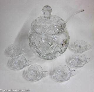 Schwere Bleikristall Glas Bowle Mit 6 Becher Und Glasschöpfer Facettenschliff Bild