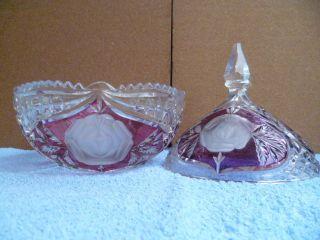24 Bleikristall Eine Pralinen - Schale Mit Passenden Deckel Bild