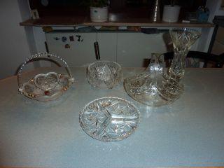 Kristallglas Sammlung Vase Korb Schale Schlüssel Nachlass 5 Teile Waltherglas Bild