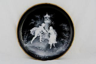Großer Glas Teller Schwarz,  Schneemalerei/ Emaille,  Spielende Kinder,  Um 1900 Bild