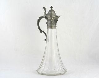 Große Historismus Glaskanne Mit Zinn Montierung,  Fratzengesicht Um 1880 Bild