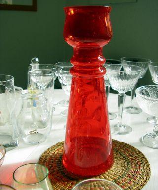 Glas Vase Rubinrot Luftblasen Schöne Hyazinthenvase 70s (marita Voigt ?) Rar Bild