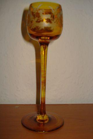 Jugendstil Glas Stengelglas - Eingeätzte Wald Und Flur Motive Bild