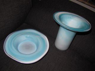 Vase Plus Obstschale Eisblau Handarbeit Neuw.  (oberstdorfer Blashütte) Bild