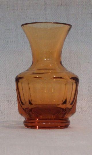 Böhmen Moser Karlsbad Kristallglas Vase Bernstein Facettiert 1930 Art Deco Bild