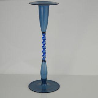 Glas,  Mundgeblasen,  Blau,  Gezwirbelt,  Kerzenständer Bild