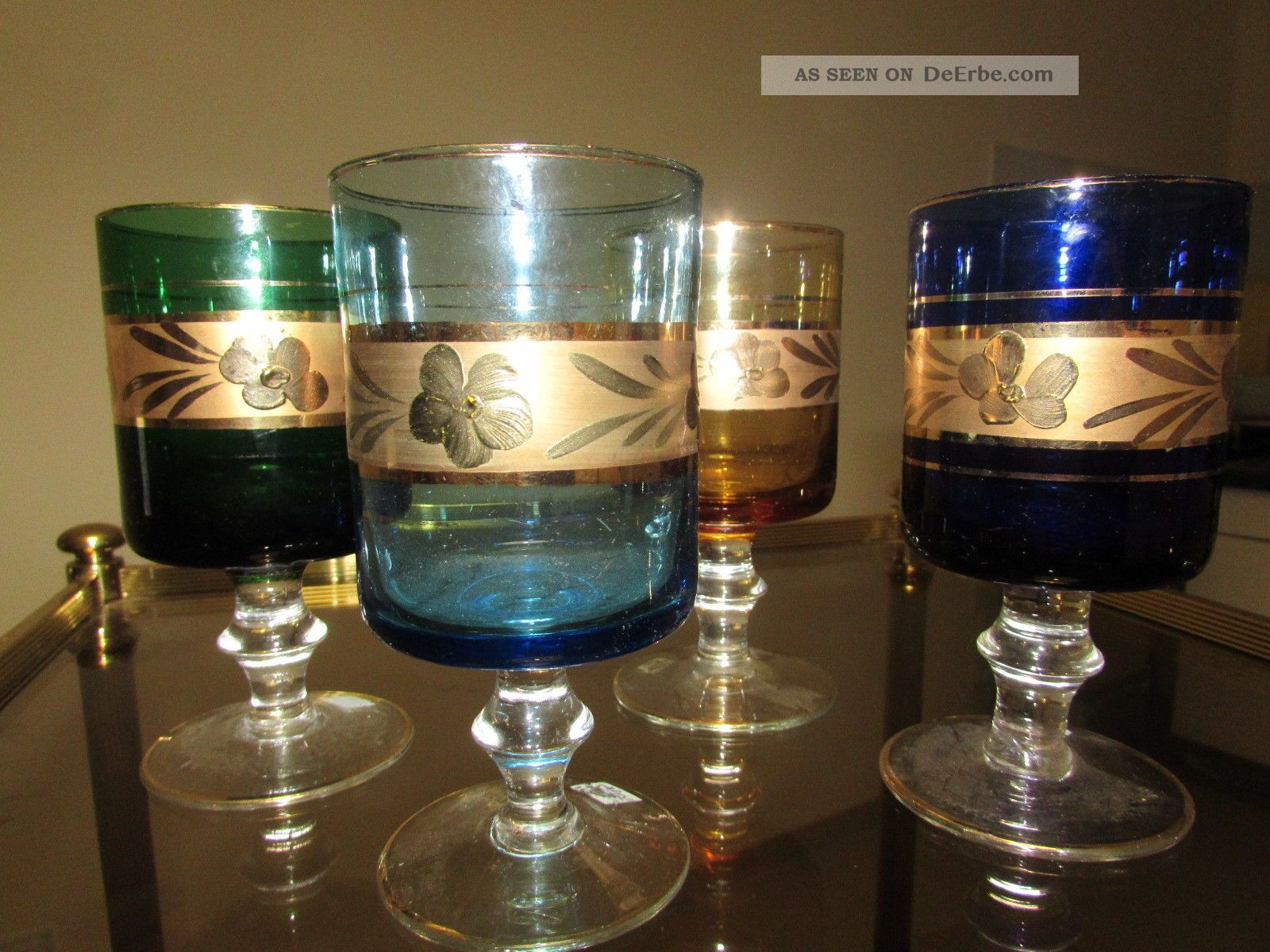 4 wundersch ne murano gl ser mit goldrand glas. Black Bedroom Furniture Sets. Home Design Ideas