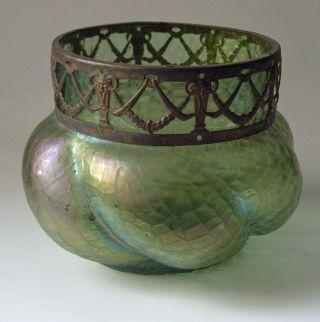 Dicke Vase Mit Metallrand Loetz Wwe.  Creta ChinÉ 1889 Bild