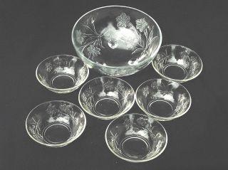 Große SchÜssel,  6 SchÄlchen Pressglas Klar Lausitzer Glas