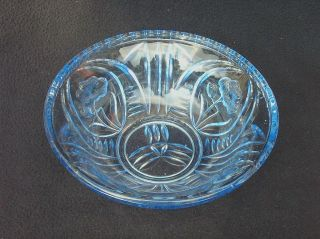 Alte Dekorative SchÜssel Pressglas Blau Walther