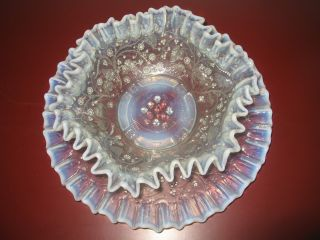 Traumhafte,  Antike Pressglas - Schale Mit Teller Wellenrand Opalinglas - Rand Bild