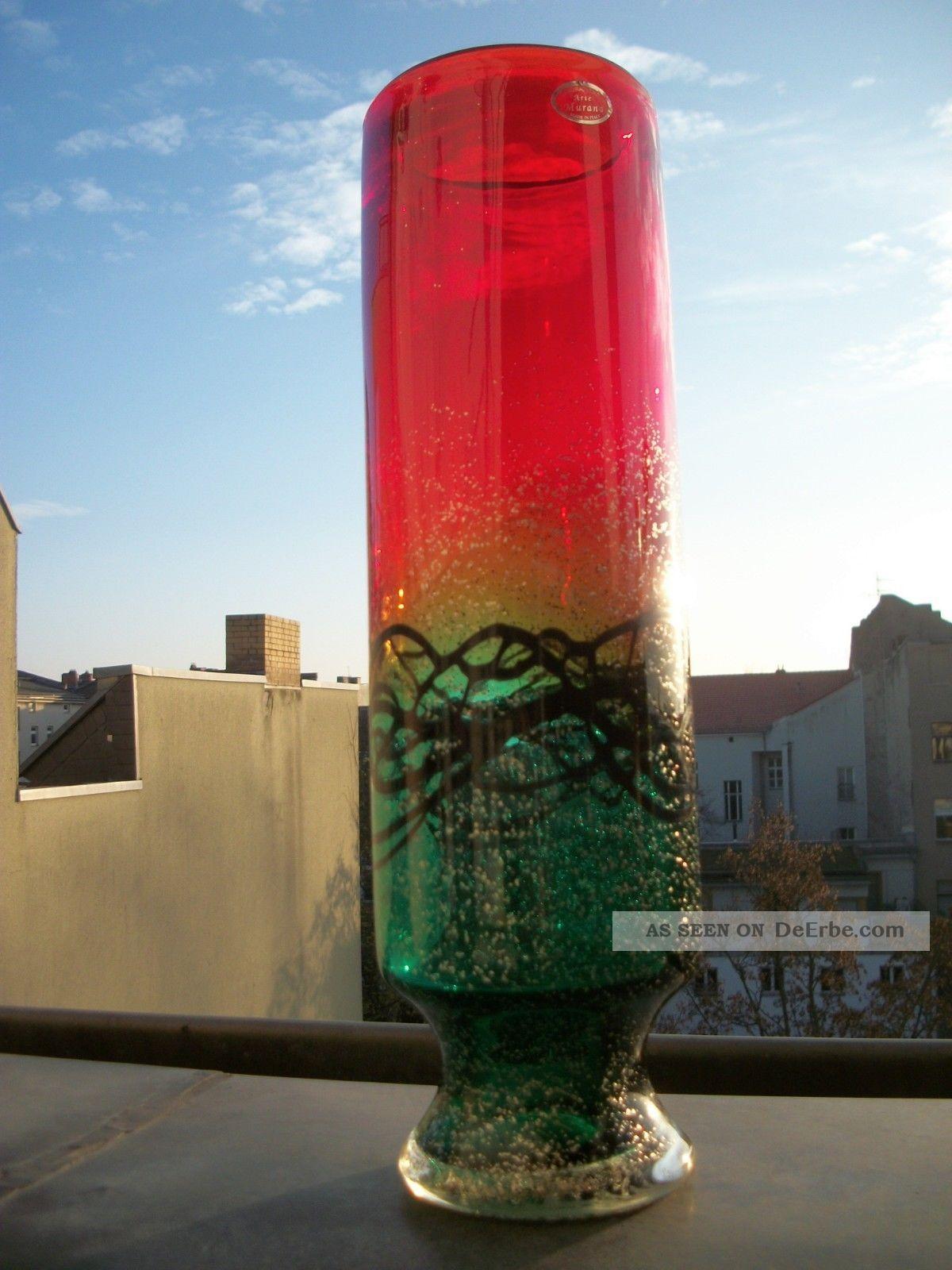 xxl murano glas skulptur vase rot gr n schwarz silber staub etikett 2kg. Black Bedroom Furniture Sets. Home Design Ideas