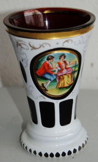 Tolles Rubinrotes Trinkglas Mit Goldrand / Goldverzierungen - Weißes Emaille Bild