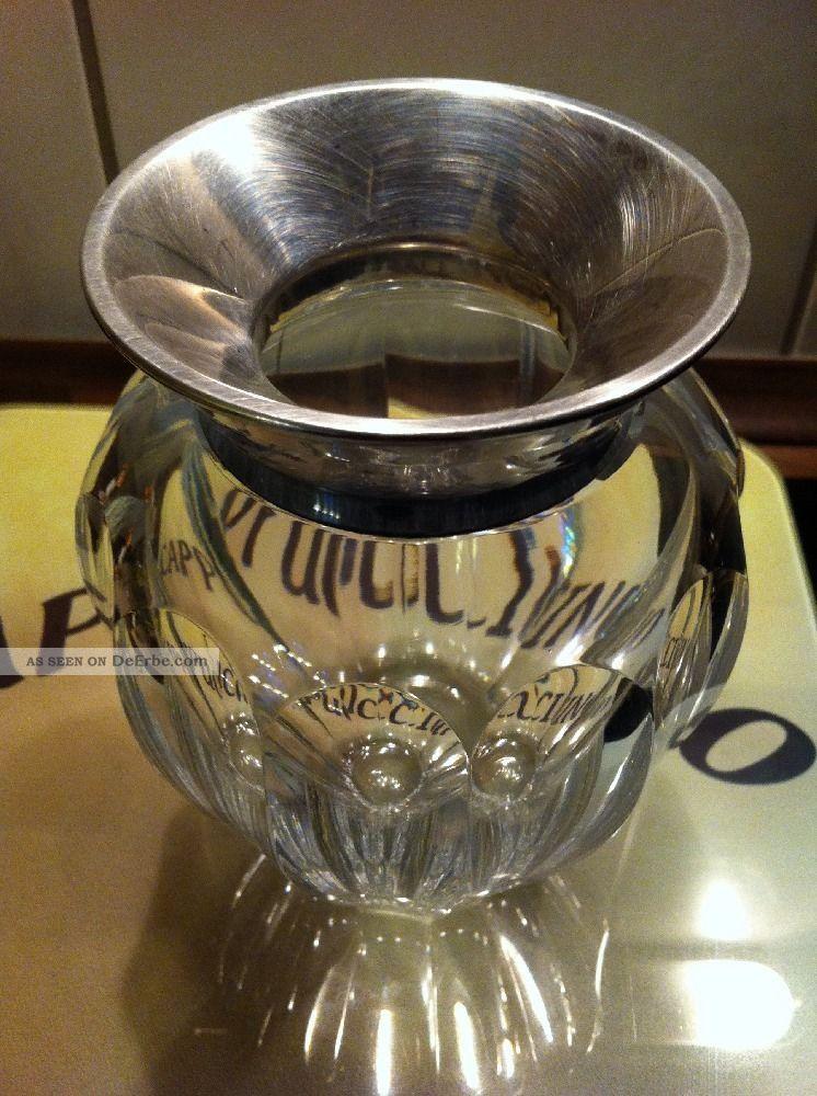 art deko geschliffene bleikristall vase silber montierung 925 sterling top. Black Bedroom Furniture Sets. Home Design Ideas