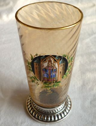 Glas Metallfuß Versilbert Punziert Emailmalerei Eichstätt Hl.  Willibald Um 1900 Bild