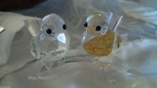 Klaus Und Bärbel Drexel - Glaskristall Vogelpaar - Gelb Und Weiß - Frohes Fest Bild
