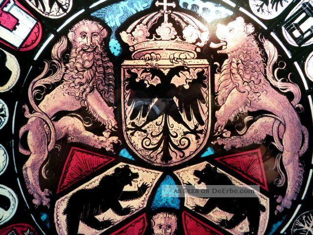 Wunderschönes Glasbild Wappen - Doppeladler - Bären - Löwen - Krone - Fabeltiere Glas & Kristall Bild