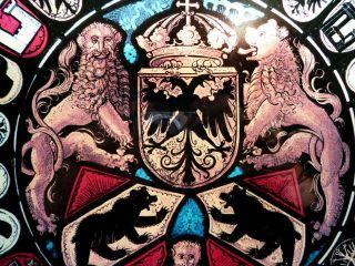 Wunderschönes Glasbild Wappen - Doppeladler - Bären - Löwen - Krone - Fabeltiere Bild