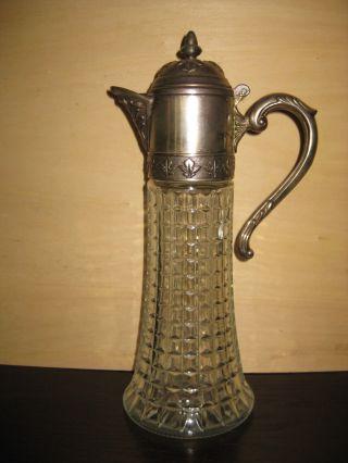 Große Alte Glas Karaffe Mit Silberfarbener Metall - Montur Bild