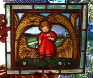 Alte Bleiverglasung Hinterglasbild 19.  Jhrdt.  Bleiglas Glas Bild Glasmalerei Bild
