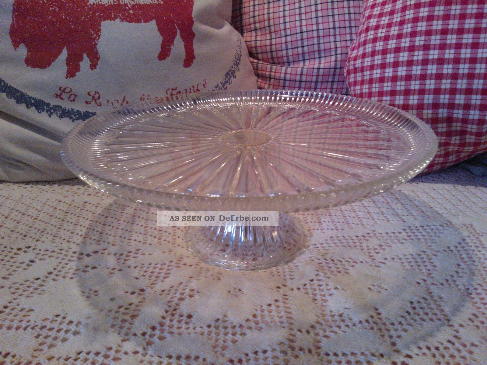 alte pressglas tortenplatte kuchenplatte glas shabby vintage. Black Bedroom Furniture Sets. Home Design Ideas