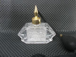 Kristall Parfum Flakon Art Deco Stil Pumpe Frankreich Satinierte Blüten Bild