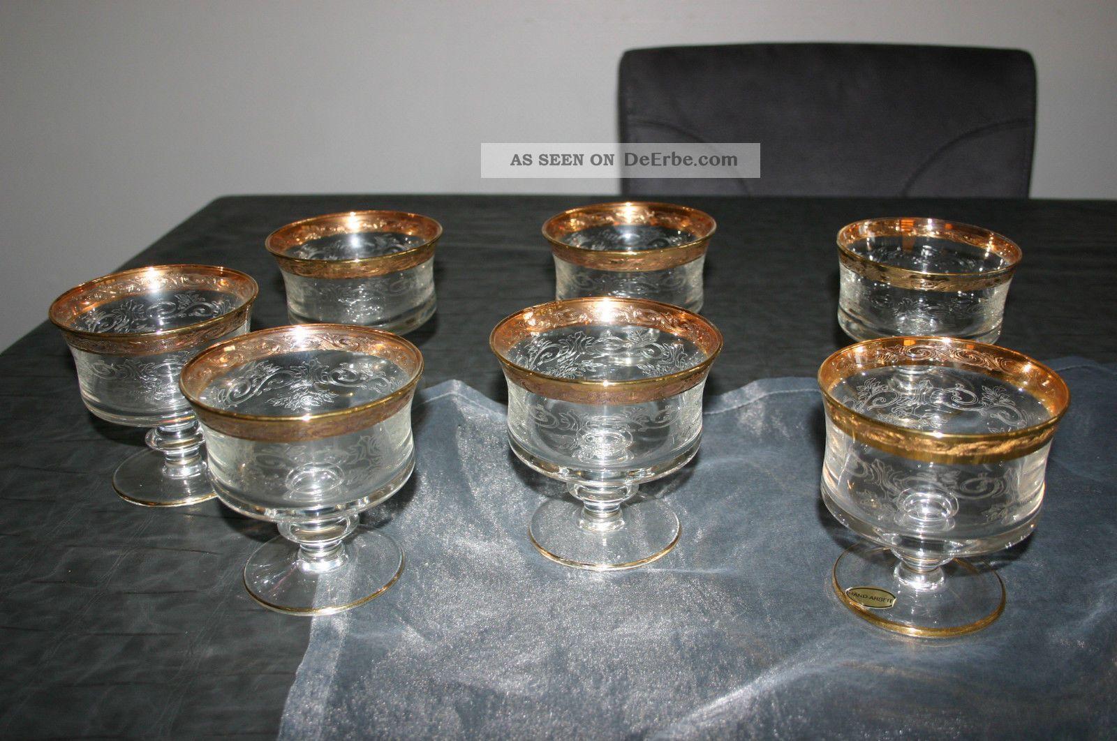 7 ltere murano medici gl ser champagner sekt margarita schale mit goldrand. Black Bedroom Furniture Sets. Home Design Ideas