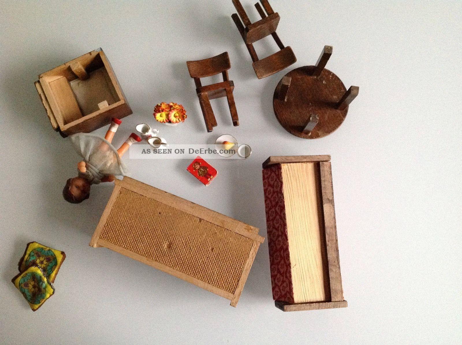 alte wohnzimmermöbel, holz, puppenstube, puppenhaus, 50/60er jahre, Hause ideen