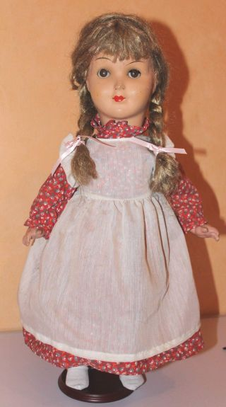 Antike Puppe Gemarkt S 60 Mit Schönen Schürzenkleid Bild