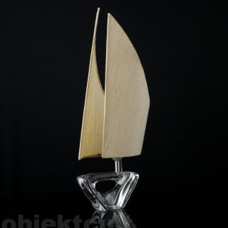 Tischleuchte Daum Nancy France Glas Segelschiff 50er 60er Table Lamp Signiert Bild