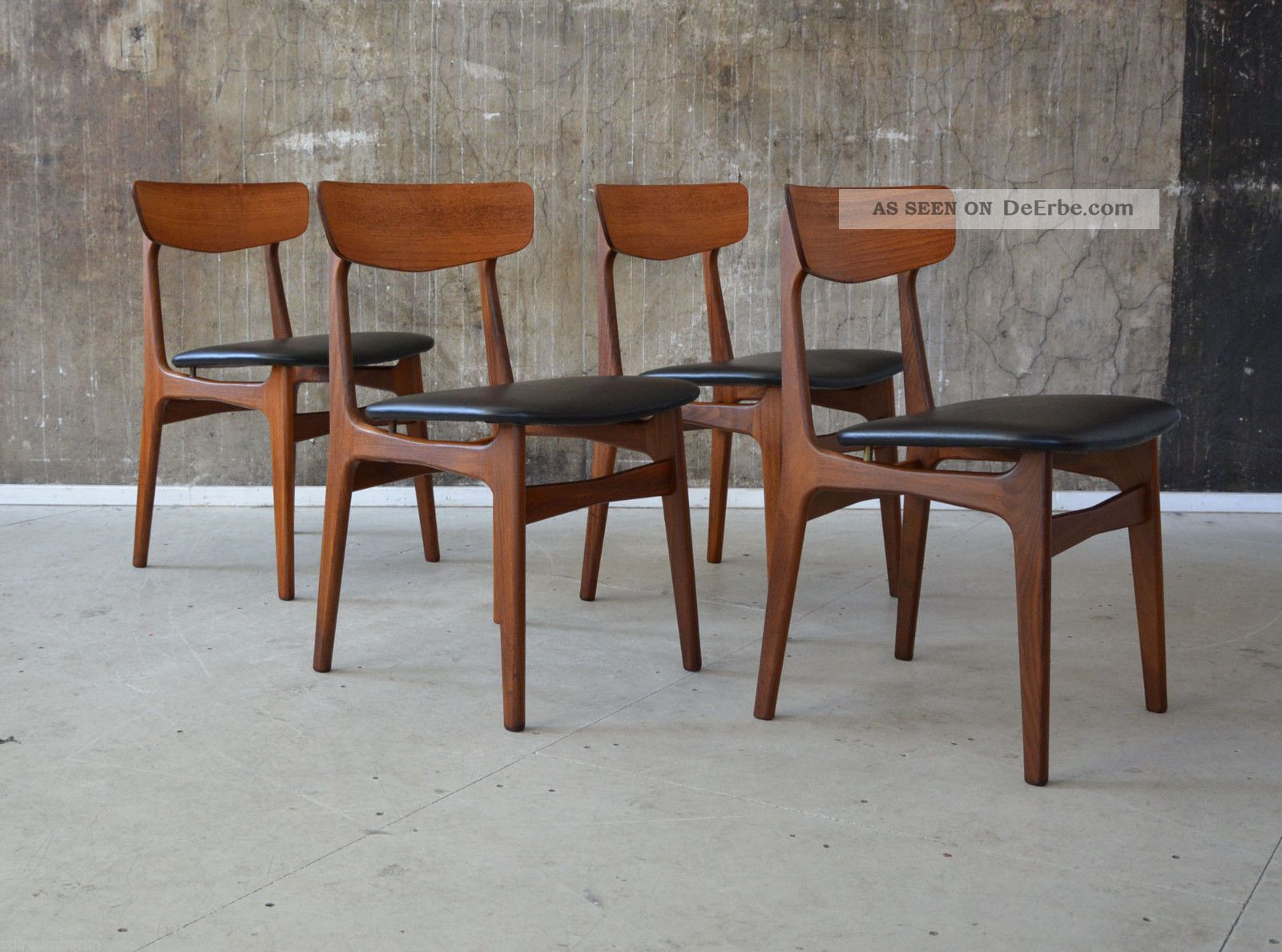 4 x 60er teak st hle esszimmerst hle danish design 60s dining chairs wegner ra. Black Bedroom Furniture Sets. Home Design Ideas