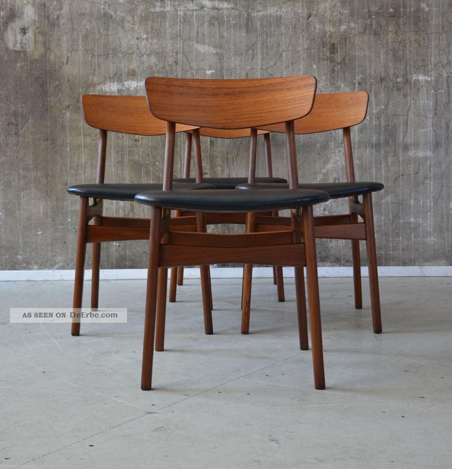 4 x 60er teak st hle esszimmerst hle danish design 60s for Danish design mobel 60er